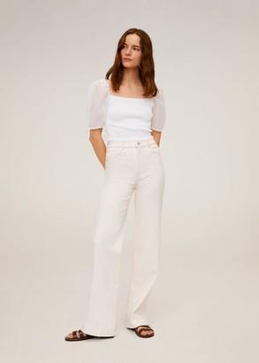 MANGO Puffed sleeves knit top off white - M - Women