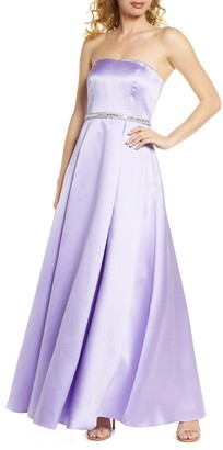Sequin Hearts Strapless Embellished Satin Gown