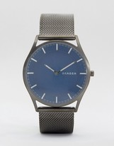 Skagen Slim Holst Mesh Watch In Grey SKW6223