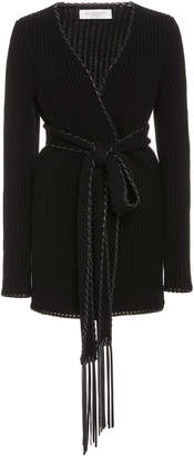 Michael Kors Collection Fringed Cashmere-Leather Cardigan