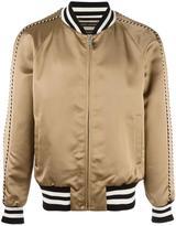 Marc Jacobs striped trim bomber jacket - men - Viscose/Cotton/Wool/Spandex/Elastane - 48