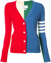 Thom Browne CLASSIC V-NECK CARDIGAN WITH FUNMIX INTARSIA & 4-BAR STRIPE IN CASHMERE