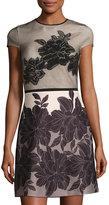 Gabby Skye Mesh-Overlay Cap-Sleeve Scuba Dress, Black