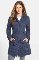 London Fog Petite Women's Polka Dot Single Breasted Trench Coat