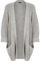 River Island Womens Plus grey chunky knit cardigan