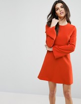 Asos A Line Dress With Fluted Sleeve