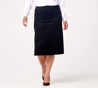 Linea by Louis Dell'Olio Faux Suede Pull On Riding Skirt