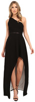 Halston One Shoulder Asymmetrical Neck Gown with Hi-Lo Skirt