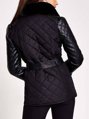 River Island Lightweight Quilted Belted Jacket - Black