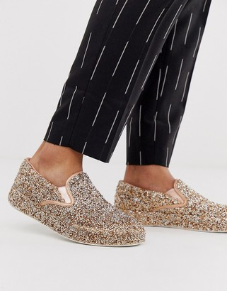 ASOS DESIGN slip on plimsolls in rose gold