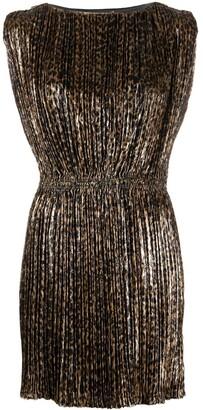 Saint Laurent Leopard-Print Pleated Dress