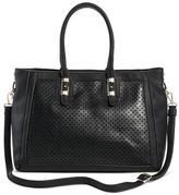 Miztique Women's Faux Leather Perforated Double Handle Satchel Handbag