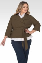 Standards & Practices Vanessa Cropped Wrap Trench Coat Jacket in Green Size 1X