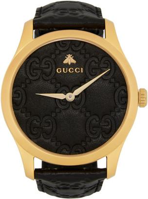 Gucci Gold and Black Embossed G-Timeless Watch