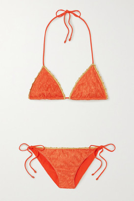 Missoni Mare Metallic-trimmed Crochet-knit Triangle Bikini - Orange