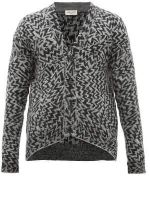 Saint Laurent Geometric Jacquard Wool Blend Cardigan - Mens - Black Grey