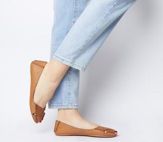 Office Felt Peep Toe Shoes Tan Leather