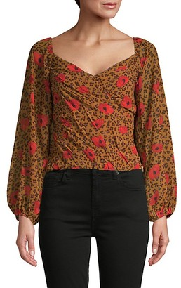 ASTR the Label Animal Floral Print Puff-Sleeve Blouse