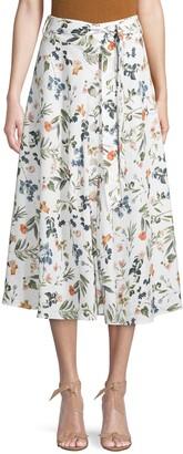 Saks Fifth Avenue Botanical-Print Linen Knee-Length Skirt