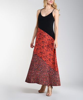 Lbisse Women's Casual Dresses Black - Black & Red Leopard & Snake Print Sleeveless Maxi Dress - Women