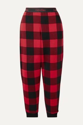 Calvin Klein Underwear Checked Cotton-blend Jersey Pajama Pants - Red