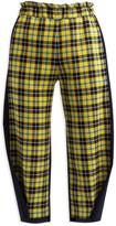 Cleo Prickett Crop Trouser In 100% Wool Yellow Scottish Tartan & Contrast Black Back Leg