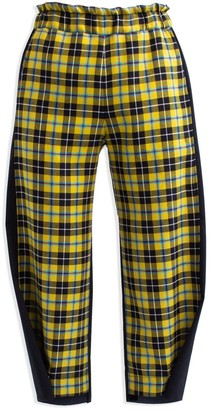 Cleo Prickett Crop Trouser In 100% Wool Yellow Scottish Tartan & Contrast Black Back Leg