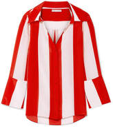 Alice + Olivia Alice Olivia - Denver Striped Silk Crepe De Chine Blouse - Red
