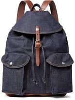 RRL Riley Leather And Suede-Trimmed Denim Backpack