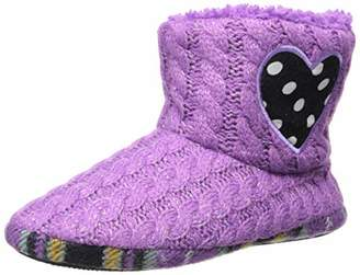 Dearfoams Girls Sweater Knit Bootie with Heart Slipper