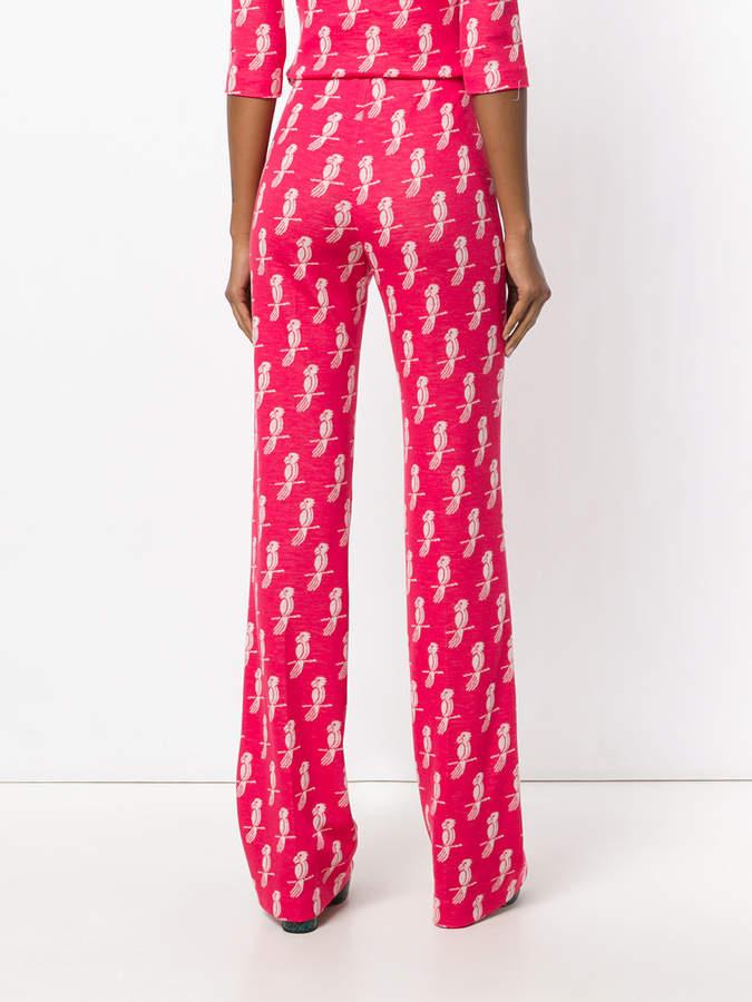 Miu Miu Jersey Parrot print trousers
