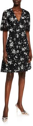 Lela Rose Floral Printed Corded Lace V-Neck Dress