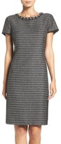 Ellen Tracy Embellished Tweed Shift Dress (Regular & Petite)