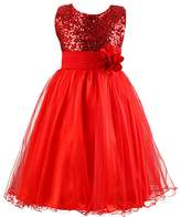 FREE FISHER Flower Girls Dress for Wedding Party with Sequins 120