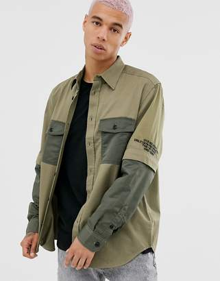 Diesel S-Kosov utlity shirt with detachable sleeves in khaki-Green