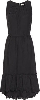 Halston Gathered Embroidered Georgette Dress