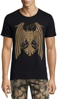 Robin's Jeans Golden Embellished Eagle Logo T-Shirt, Black