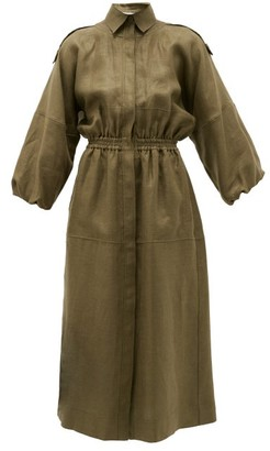 Gabriela Hearst Ares Balloon-sleeve Hemp Shirt Dress - Khaki