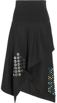 J.W.Anderson Asymmetric Embellished Boiled Wool Midi Skirt - Black