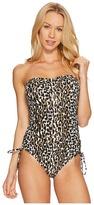 MICHAEL Michael Kors Thora Leopard Lace-Up Bandeau One-Piece Women's Swimsuits One Piece