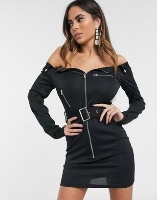 Femme Luxe blazer dress with zip detail in black