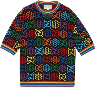 Gucci GG Psychedelic wool jacquard top