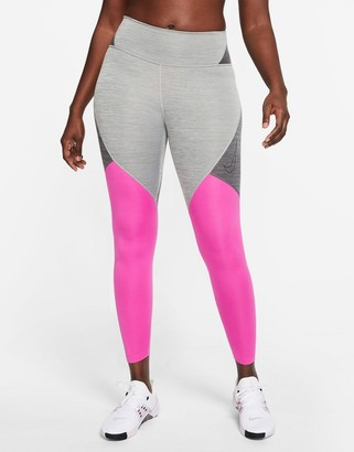 Nike Training one tight color block leggings in gray and pink