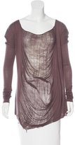 Raquel Allegra Distressed Scoop Neck Top