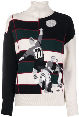 Ballantyne Football Intarsia Turtleneck Jumper