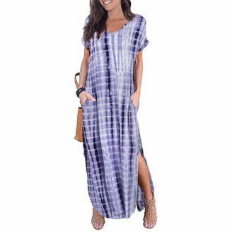Newbestyle Women's Maxi Dresses Women's Casual Dresses Summer Dress Long Women's Short Sleeve Dresses with Pockets - Grey - UK 10.5