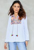 Nasty Gal In Over Your Thread Embroidered Blouse