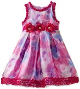 Nannette Toddler Girls Printed Floral Organza Dress with Ruffle Detail