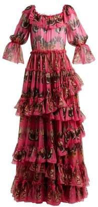Dolce & Gabbana Butterfly-print Ruffled Silk-chiffon Gown - Womens - Pink Print