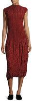 The Row Lucky Pleated Silk Cap-Sleeve Dress, Dark Red